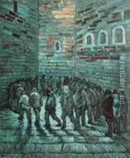 The Prison Exercise Yard Oil Painting - Vincent Van Gogh