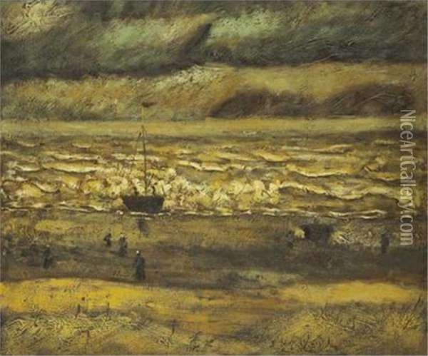Beach Scheveningen Oil Painting - Vincent Van Gogh