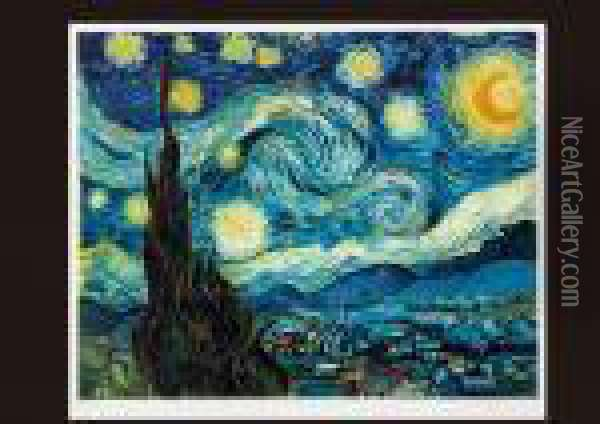 Evening With Stars And Moon(estampe) Oil Painting - Vincent Van Gogh