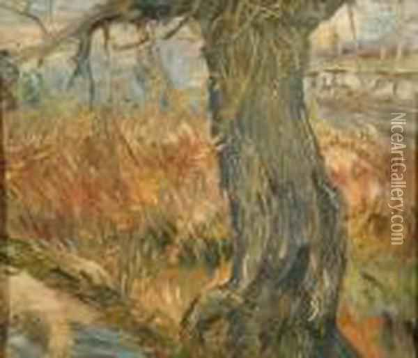 Tree By Theriver Oil Painting - Vincent Van Gogh