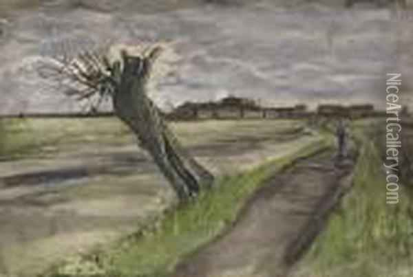 Pollard Willow Oil Painting - Vincent Van Gogh