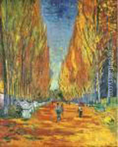 L'allee Des Alyscamps Oil Painting - Vincent Van Gogh