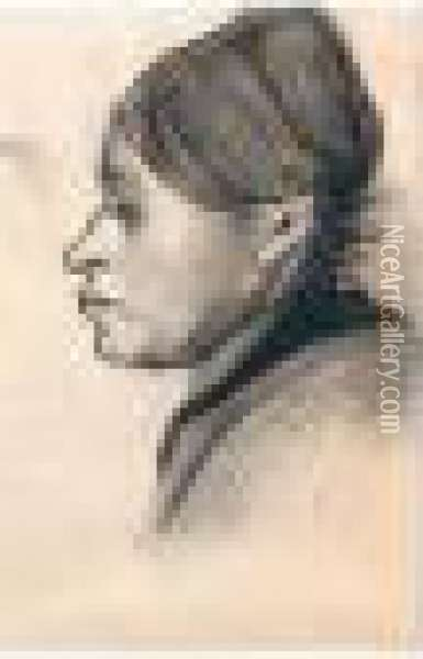 Head Of A Peasant Woman: Left Profile Oil Painting - Vincent Van Gogh