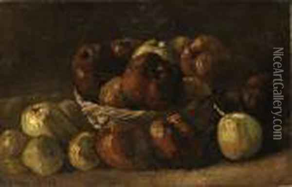Still Life, Basket With Apples Oil On Canvas Oil Painting - Vincent Van Gogh