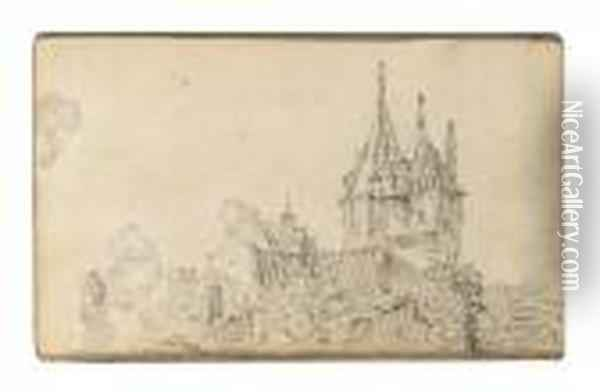 A Small Castle With Two Towers Oil Painting - Jan van Goyen