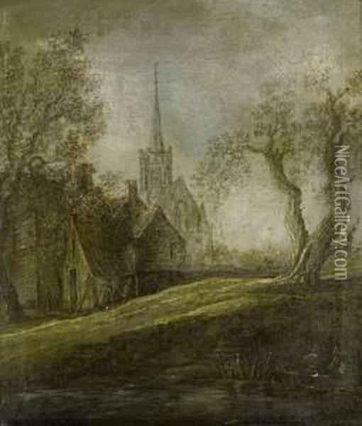 Figures Approaching A Shore On A Barge, A Church On The Horizon Oil Painting - Jan van Goyen