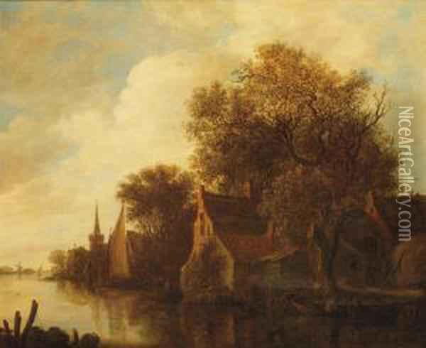 A Riverlandscape With Figures In A Boat Outside A Village Oil Painting - Jan van Goyen