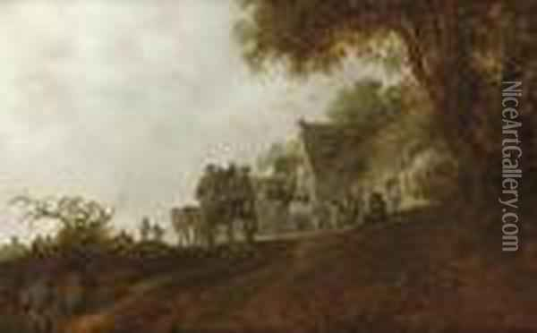 A Landscape With Travellers On A Road And Two Carts In Front Of An Inn Oil Painting - Jan van Goyen