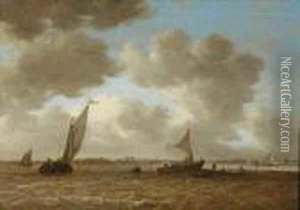 Shipping In Choppy Waters Oil Painting - Jan van Goyen