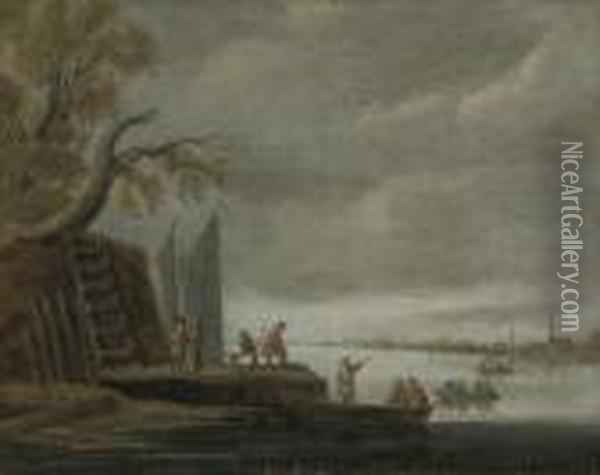 A Wooded River Landscape With  Figures On A Jetty And Boats Crossing The River, A Town Beyond Oil Painting - Jan van Goyen