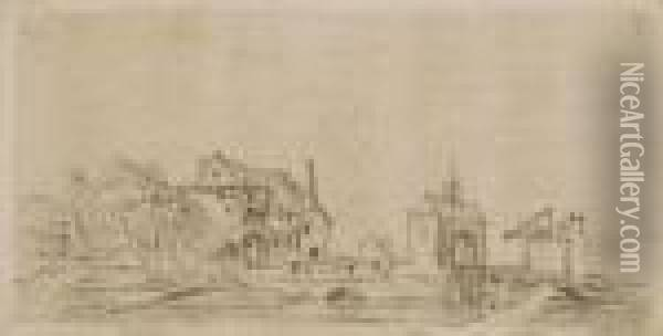 L'entree D'un Village Oil Painting - Jan van Goyen