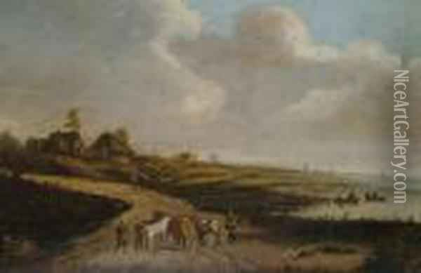 Drovers And Their Cattle On A Riversidepath. Oil Painting - Jan van Goyen
