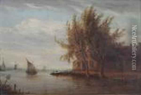 Rivierlandschap. Oil Painting - Jan van Goyen