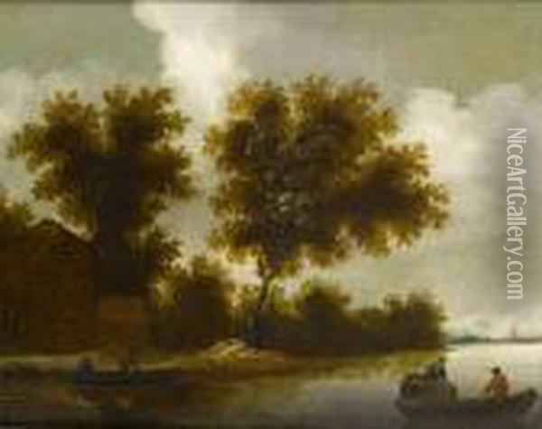 A Farmhouse In A Wood, Before A River Landscape, With Rowing Boats In The Foreground Oil Painting - Jan van Goyen