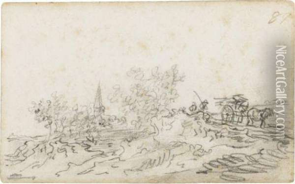 A Horse And Cart On A Path, A Church Tower In The Background Oil Painting - Jan van Goyen