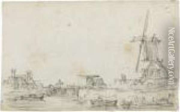 A Drawbridge Over A River, A Windmill To The Right And Houses Tothe Left Oil Painting - Jan van Goyen