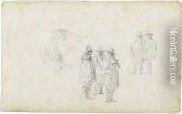 Two Groups Of Standing Men, And A Cow Oil Painting - Jan van Goyen