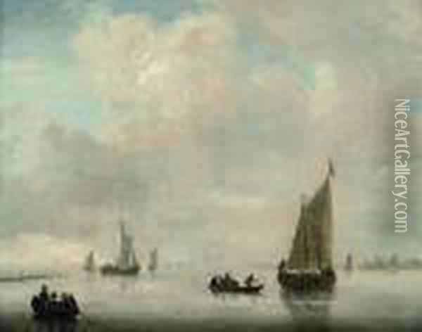 A Calm Day On The Scheldt Oil Painting - Jan van Goyen