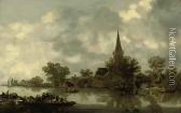 A River Landscape With A Church, A Ferry And Figures In Rowingboats Oil Painting - Jan van Goyen