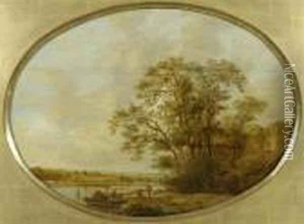A River Landscape With Trees. Oil Painting - Jan van Goyen