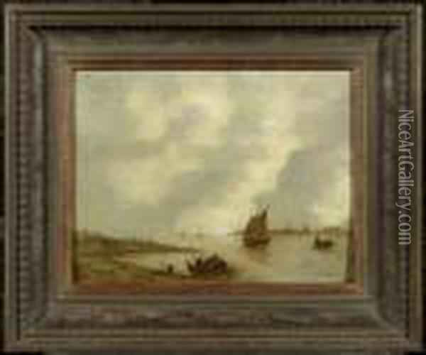 A River Landscape With Fishing Boats Oil Painting - Jan van Goyen