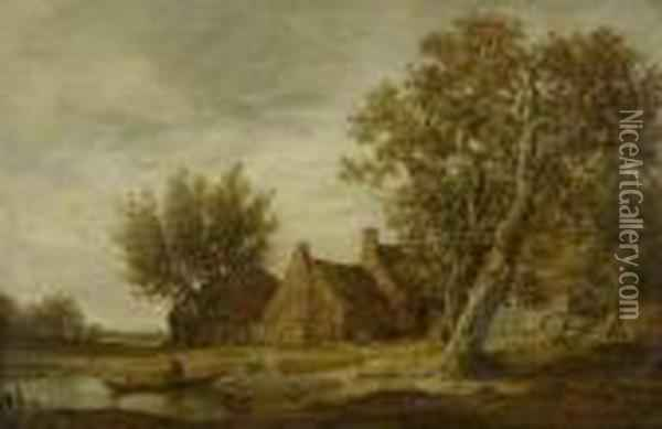 River Landscape With Farms And A Boat Oil Painting - Jan van Goyen