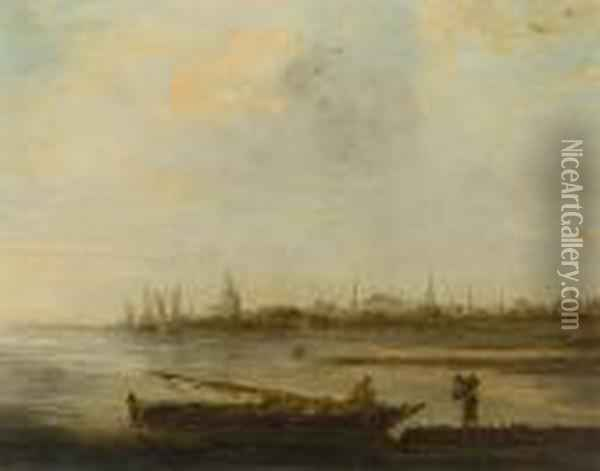 Figures And Boat Before A Coastalskyline Oil Painting - Jan van Goyen