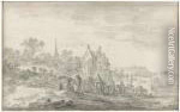 Landscape With Travellers Resting At The Edge Of A Village Oil Painting - Jan van Goyen