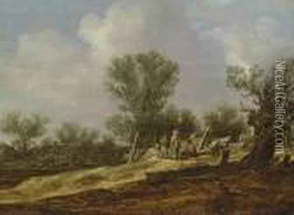 A Landscape With Travellers Resting By A Fence, A Village Beyond Oil Painting - Jan van Goyen