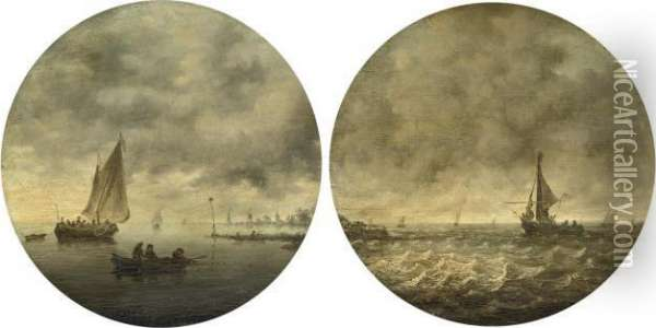 A River Landscape With Fishermen Drawing In Their Nets Oil Painting - Jan van Goyen