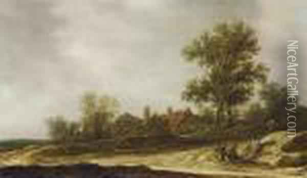 A Landscape With Travellers  Resting On A Sandy Path Near A Cottage, A Church In The Distance Oil Painting - Jan van Goyen