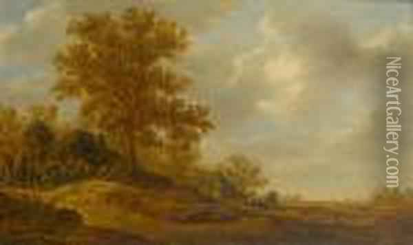 A Wooded Landscape With Travellers Halting Before An Inn Oil Painting - Jan van Goyen