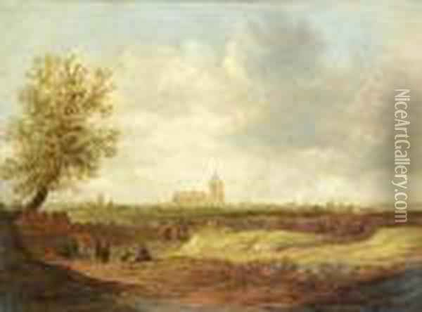 Travellers On A Path, With Arnhem In The Distance Oil Painting - Jan van Goyen