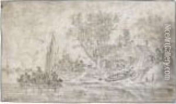 River Landscape With Figures Embarking On A Barge And A Cottage To The Right Oil Painting - Jan van Goyen
