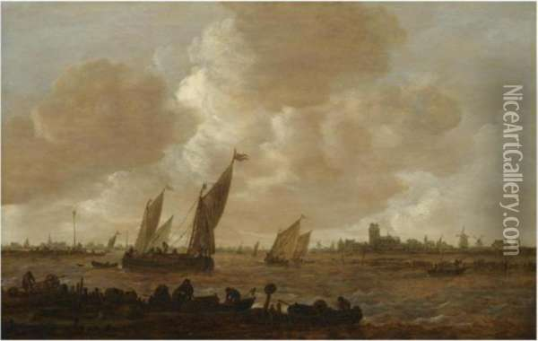A Distant View Of Dordrecht,  With Small Vessels Beating Against And Running Before The Wind, With  Fishermen Unloading Fishtraps In The Foreground Oil Painting - Jan van Goyen