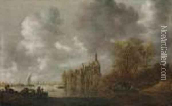 An Extensive River Landscape With Figures Rowing And A Castle Beyond Oil Painting - Jan van Goyen