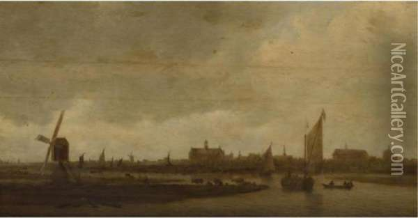 A View Of Leiden From The North, With Cattle Grazing In Theforeground Oil Painting - Jan van Goyen