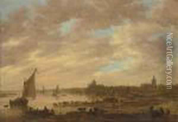 A View Of Nijmegen From The West  With The Valkhof And St.stevenskerk, A Ferry And Other Shipping On The  Waal And Cattle Onthe River Bank Oil Painting - Jan van Goyen
