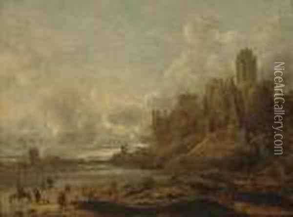 A River Landscape With  Travellers On The Bank, A Ferry Crossing, Awindmill And Town Beyond Oil Painting - Jan van Goyen