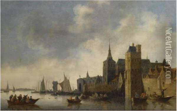 A River Landscape With Fishermen  In Small Vessels Near The City Ofantwerp, With A Church Tower On The  Right, Sailing Boats In Thebackground Oil Painting - Jan van Goyen