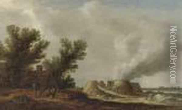 A River Landscape With Peasants Resting Near A Cottage And Figures Working At Lime Kilns Oil Painting - Jan van Goyen