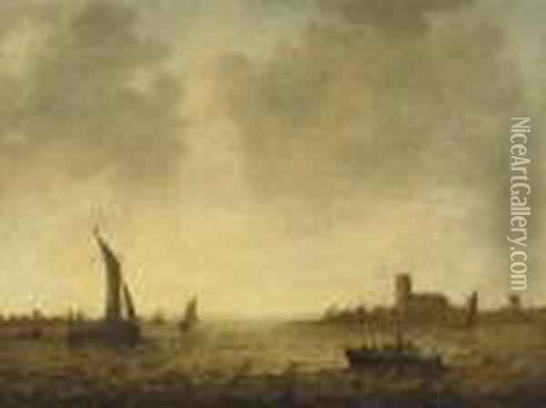 A View Of Dordrecht With Shipping On The Merwede Oil Painting - Jan van Goyen