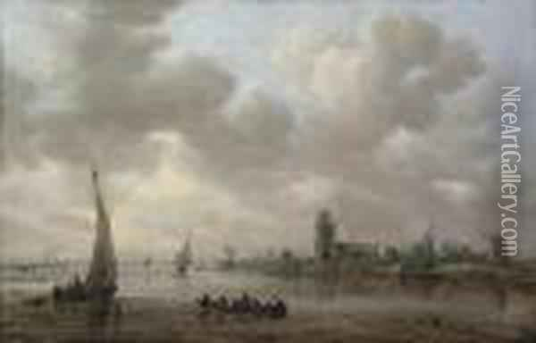 A View Of The Maas With Dordrecht Beyond Oil Painting - Jan van Goyen