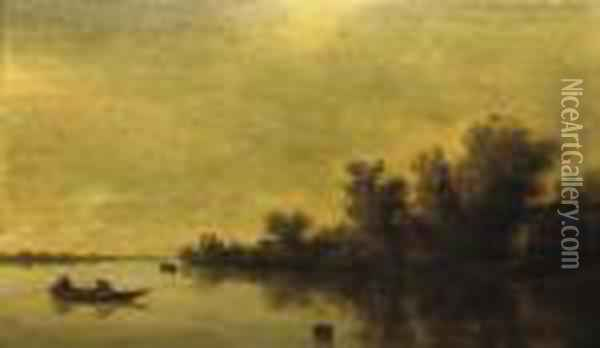 A Wooded River Landscape With Two Figures In A Rowing Boat Oil Painting - Jan van Goyen