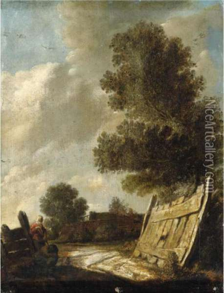 A Landscape With Travellers Resting In The Foreground Oil Painting - Jan van Goyen