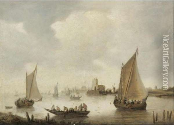 River Landscape With A Town In The Distance Oil Painting - Jan van Goyen