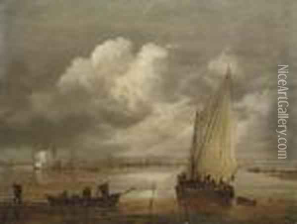 A River Landscape With Fishermen Drawing In Their Nets And A Town Beyond Oil Painting - Jan van Goyen