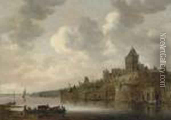 The Valkhof At Nijmegen, With A  Coach And Four On A Ferry On The River Waal In The Foreground Oil Painting - Jan van Goyen