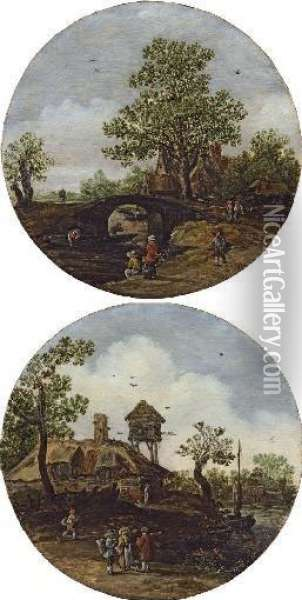 A River Landscape With Peasants  Conversing In The Foreground, A Farmhouse And Dovecot Beyond; And A  River Landscape With Peasants Fishing In The Foreground, A Bridge And  House Beyond Oil Painting - Jan van Goyen