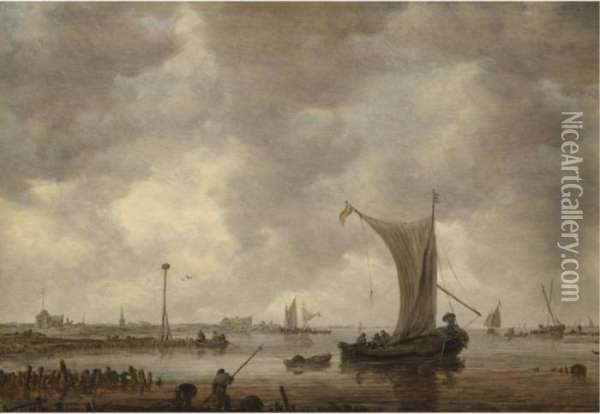A River Estuary With Shipping And Fishermen On The Shore Oil Painting - Jan van Goyen